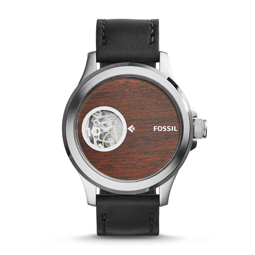 Fossil  Nate Automatic Leather Watch - Black  22575946