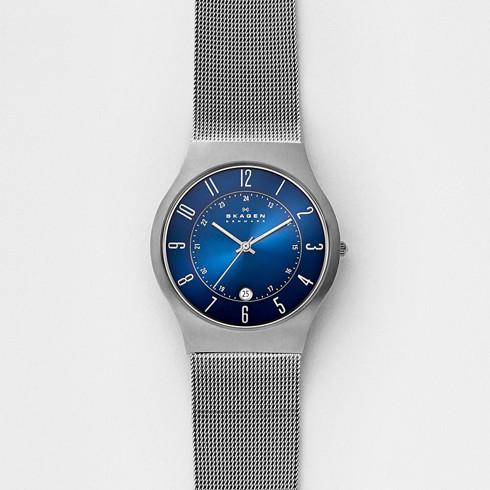 mens titanium watches skagen grenen steel mesh and titanium case watch