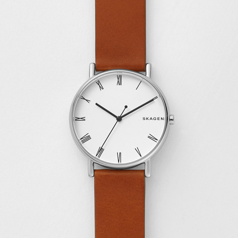 jorn skagen men watch brown dial white s watches leather
